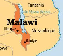 Het land Malawi in Zuidoost-Afrika